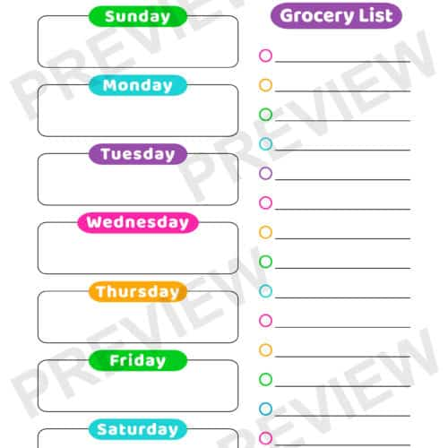 Kids Weekly Meal Planner
