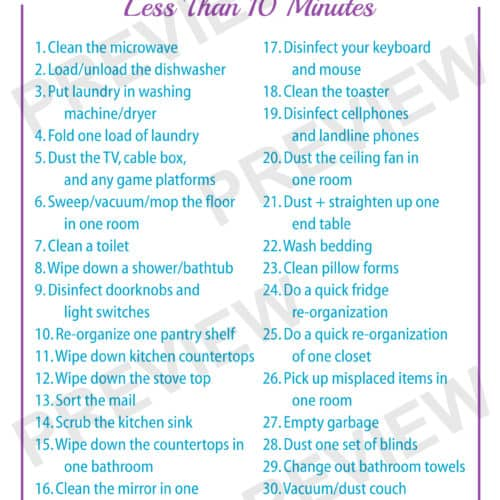 30 Homemaking Tasks That Take Less Than 10 Minutes
