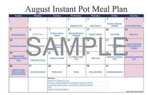 Instant Pot Meal Plan - August