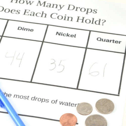 Water and Coin Science Experiment Printable
