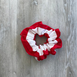 Red and White Stripe scrunchie