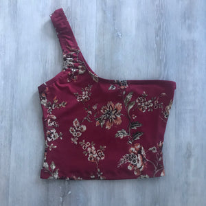 Floral One shoulder crop top