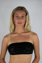Load image into Gallery viewer, Black Velvet Sequin Tube top
