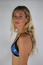 Load image into Gallery viewer, Electric Blue and Silver Sequin Bralette