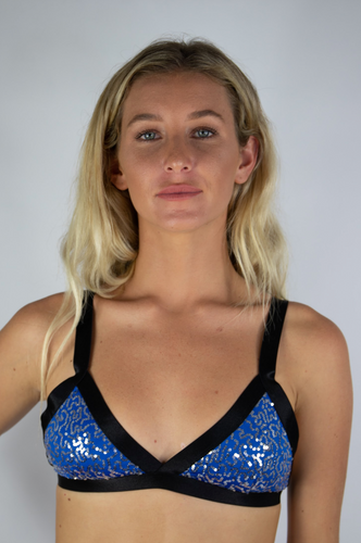 Electric Blue and Silver Sequin Bralette