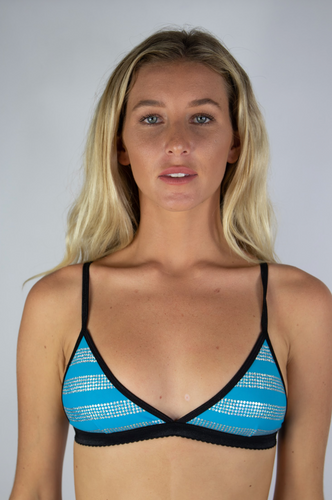 Blue and Silver Polka Stripe Bralette