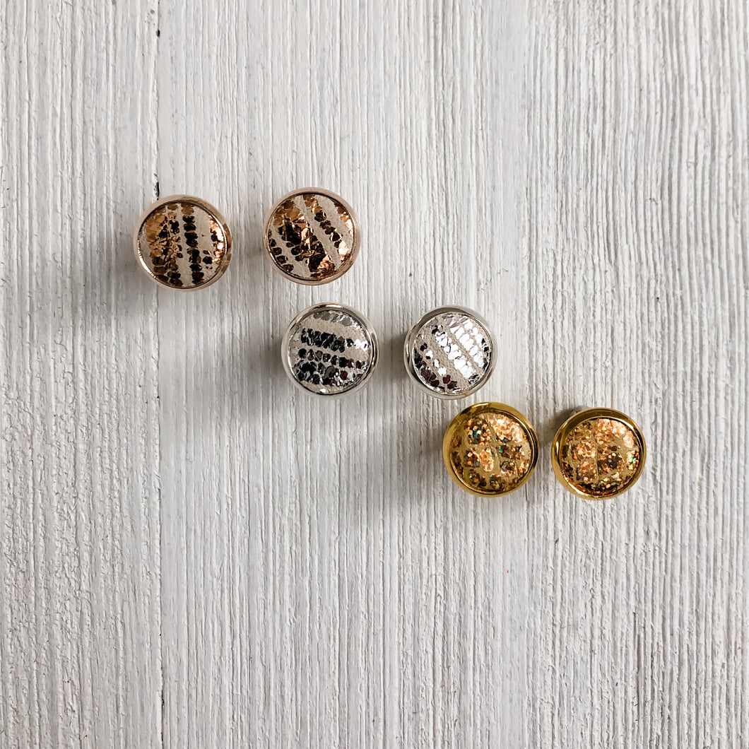 Metallic Leather Stud Trio