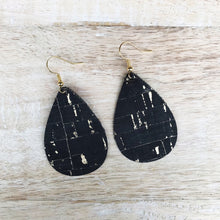 Load image into Gallery viewer, Black & Gold Cork Earrings