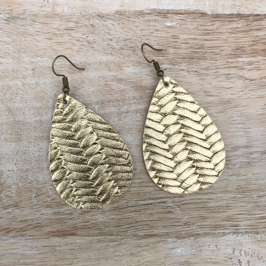 Gold Braided Leather Earrings