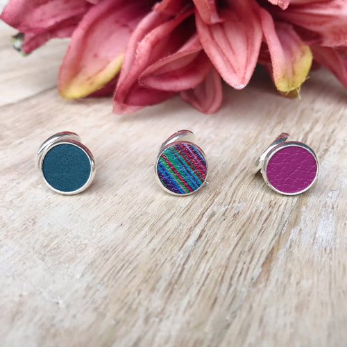 Rainbow Leather Earring Stud Trio
