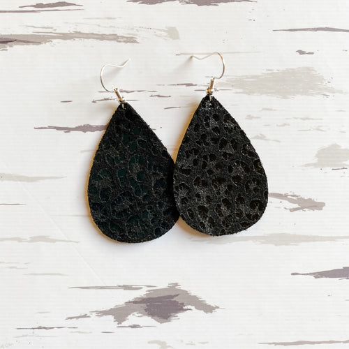 Black Leopard Leather Earrings