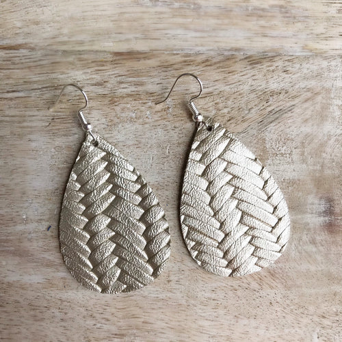 Platinum Braided Leather Earrings