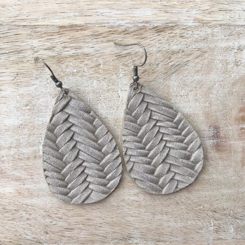 Stonewash Braided Leather Earrings
