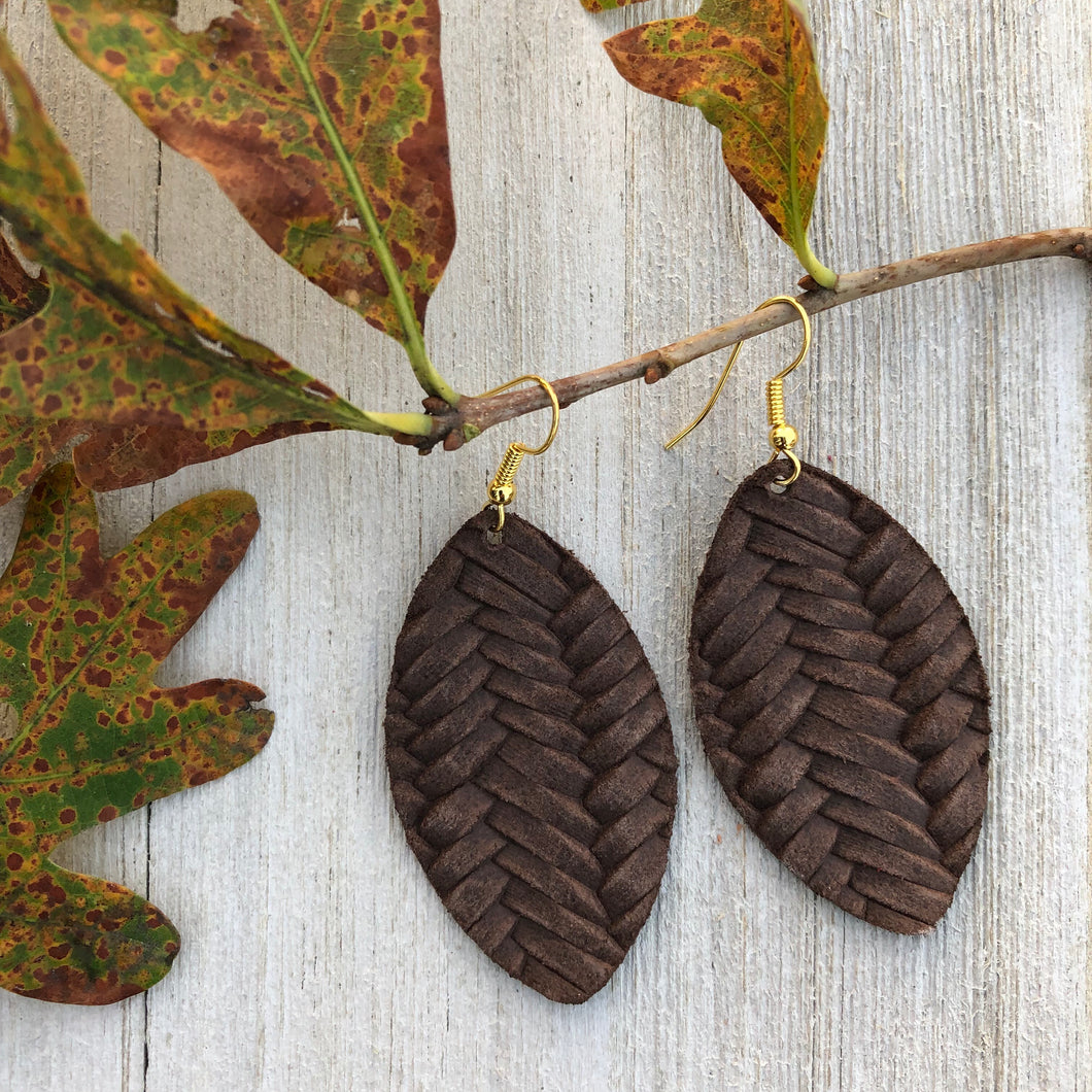 Chocolate Braid Leather Earrings