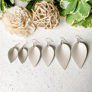 NEW! Cream Leather Earrings