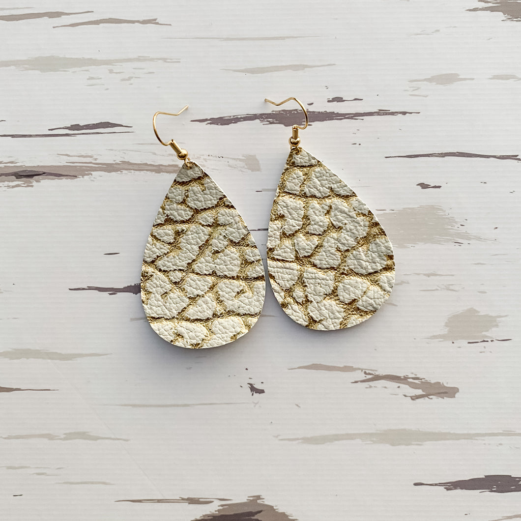 Cracked Gold Leather Earrings