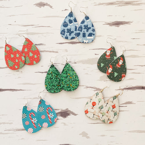 NEW! Holiday Prints Leather Earrings
