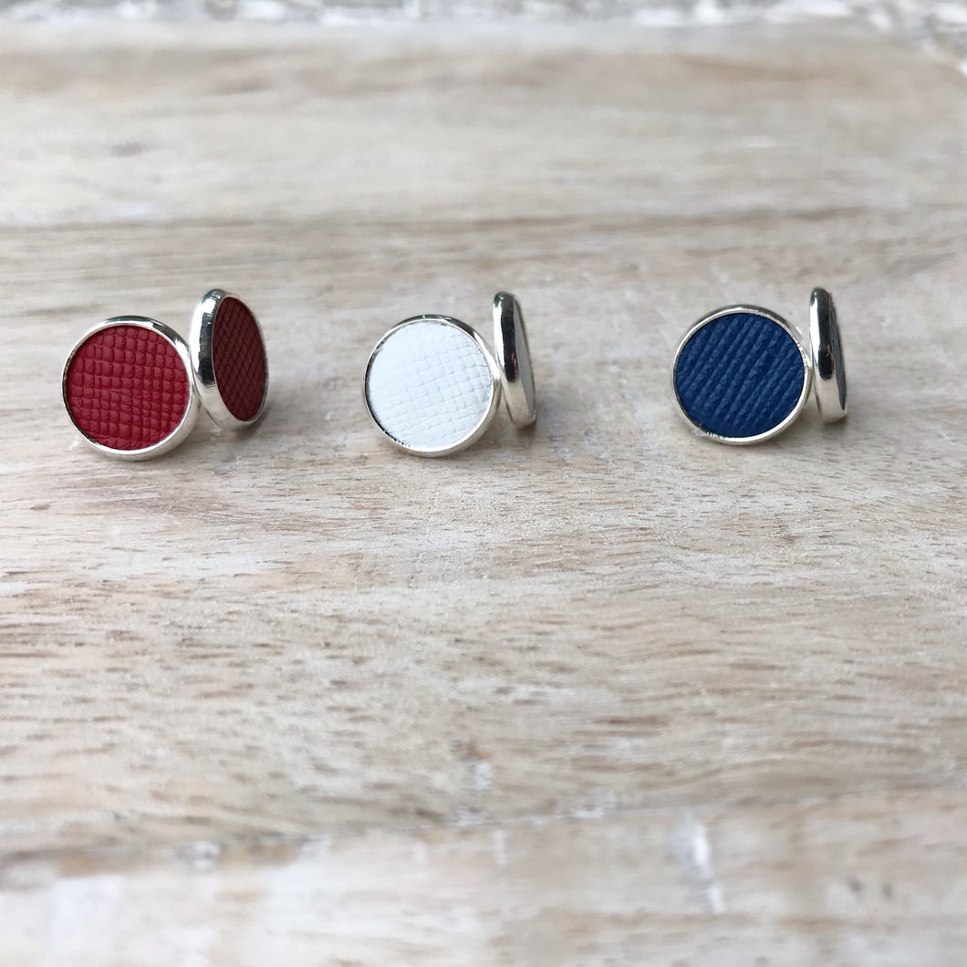 Red, White & Blue Leather Earring Stud Trio