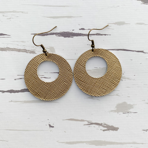 Golden Bell Leather Earrings