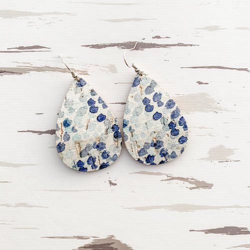 Watercolor Dots Cork Earrings