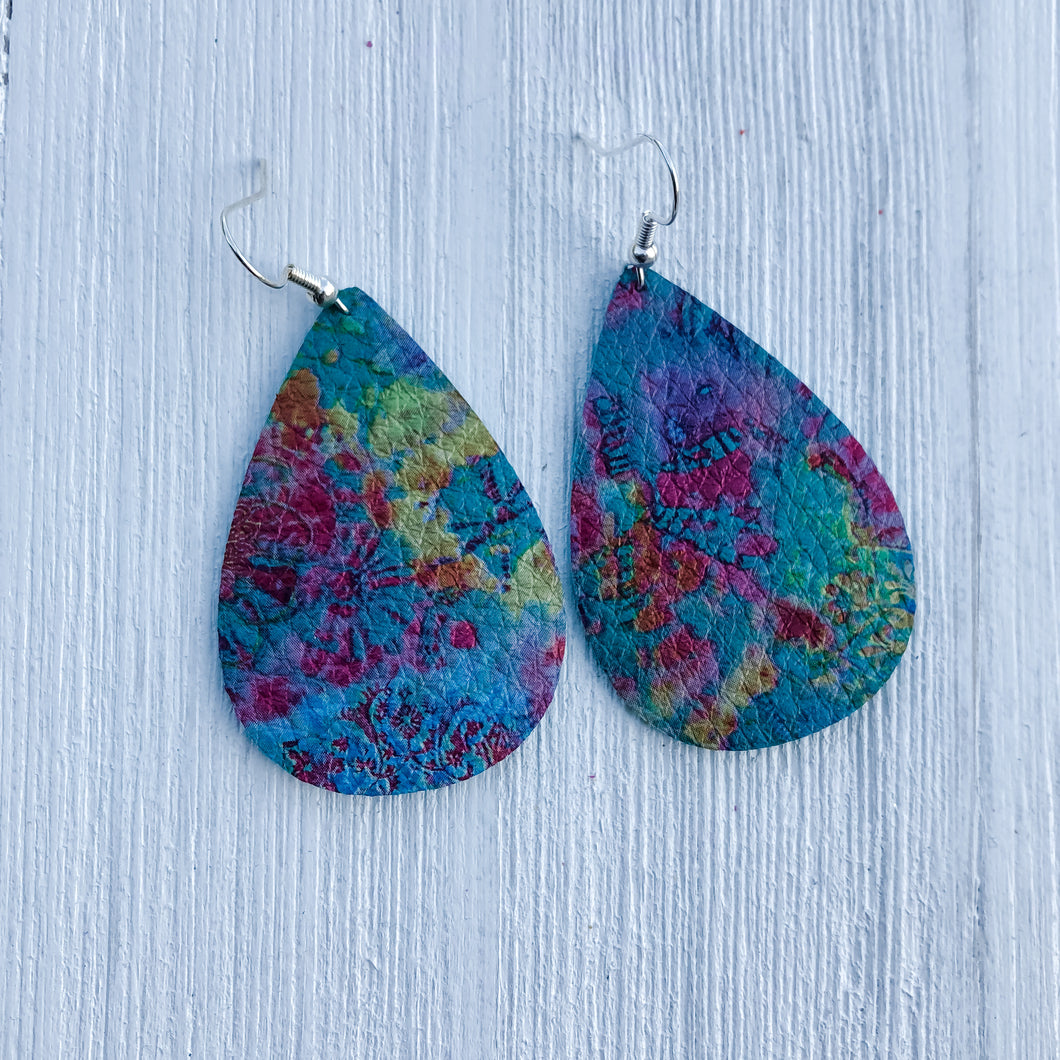 Tie Dye Leather Earrings