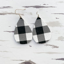 Load image into Gallery viewer, Black & White Buffalo Plaid Leather Earrings (regular & petite plaid)