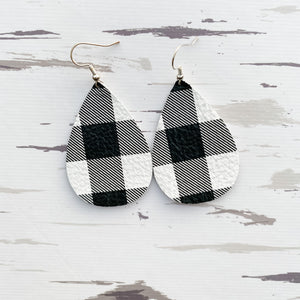 Black & White Buffalo Plaid Leather Earrings (regular & petite plaid)