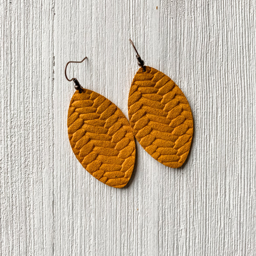 Mustard Braided Leather Earrings