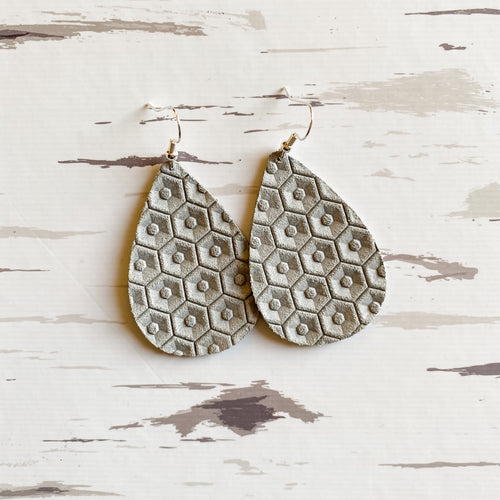 Placid Gray Leather Earrings