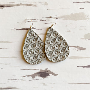 NEW! Placid Gray Leather Earrings