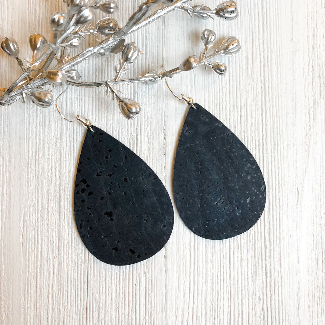 Navy Cork Earrings