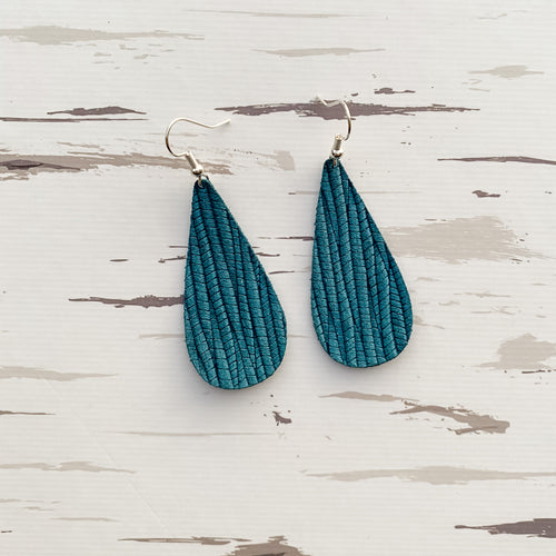 Winter Blue Leather Earrings