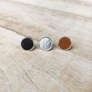 Back to Basics - Leather Earring Stud Trio