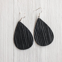 Load image into Gallery viewer, Midnight Black Leather Earrings