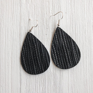 Midnight Black Leather Earrings