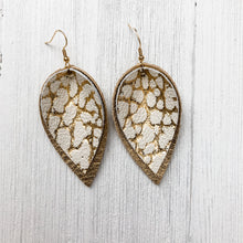 Load image into Gallery viewer, Cracked Gold Leather Earrings