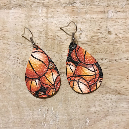 Basketball Leather Earrings