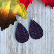 Load image into Gallery viewer, Eggplant Braided Leather Earrings