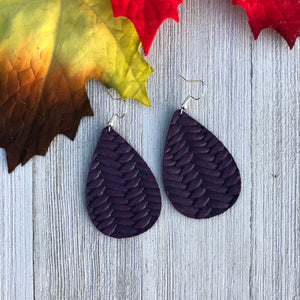 Eggplant Braided Leather Earrings