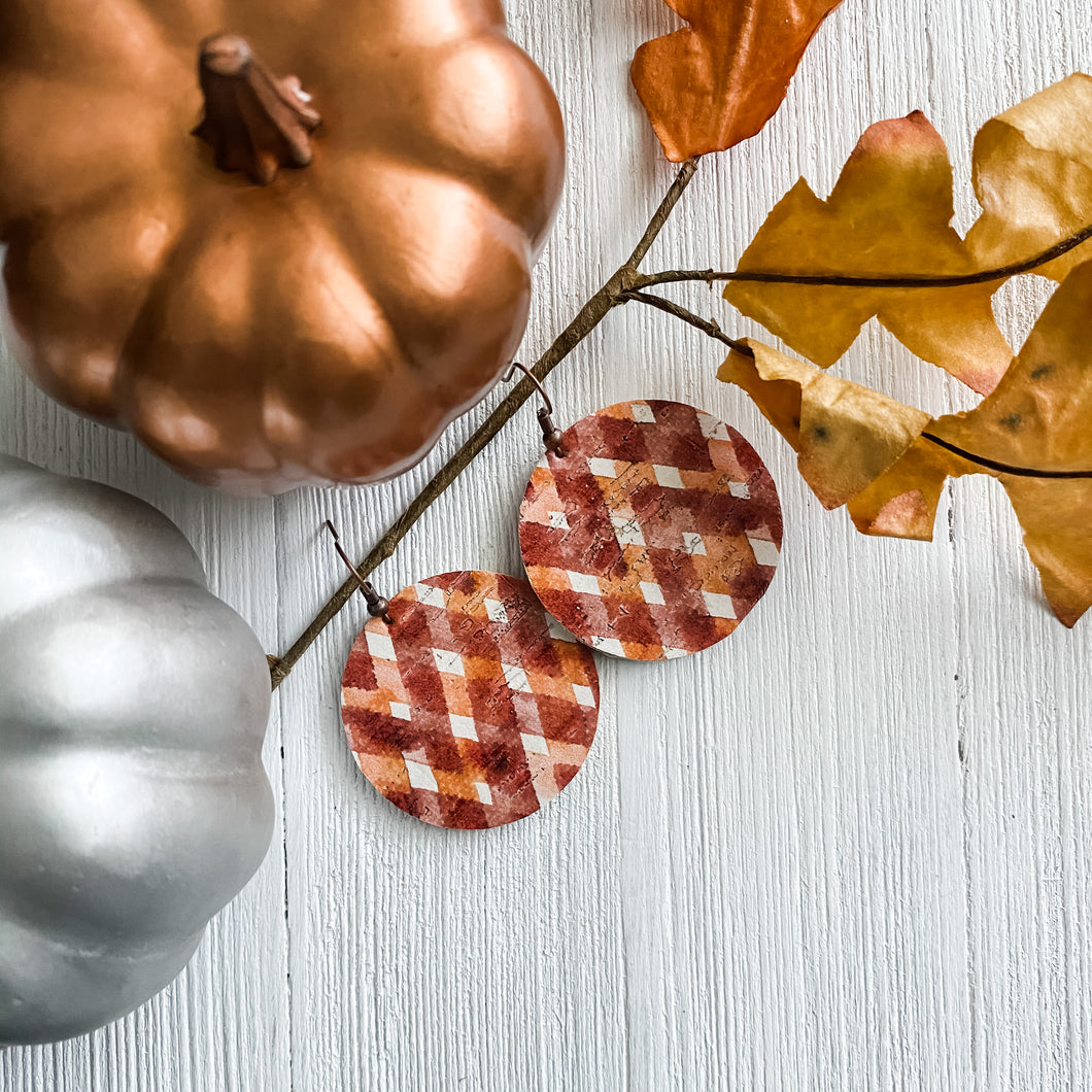 Warm Gingham Cork Earrings - November Featured FLD
