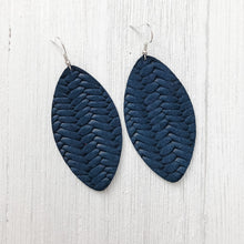 Load image into Gallery viewer, Navy Braided Leather Earrings