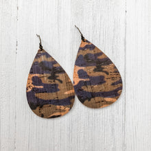 Load image into Gallery viewer, Purple Camo Cork Earrings