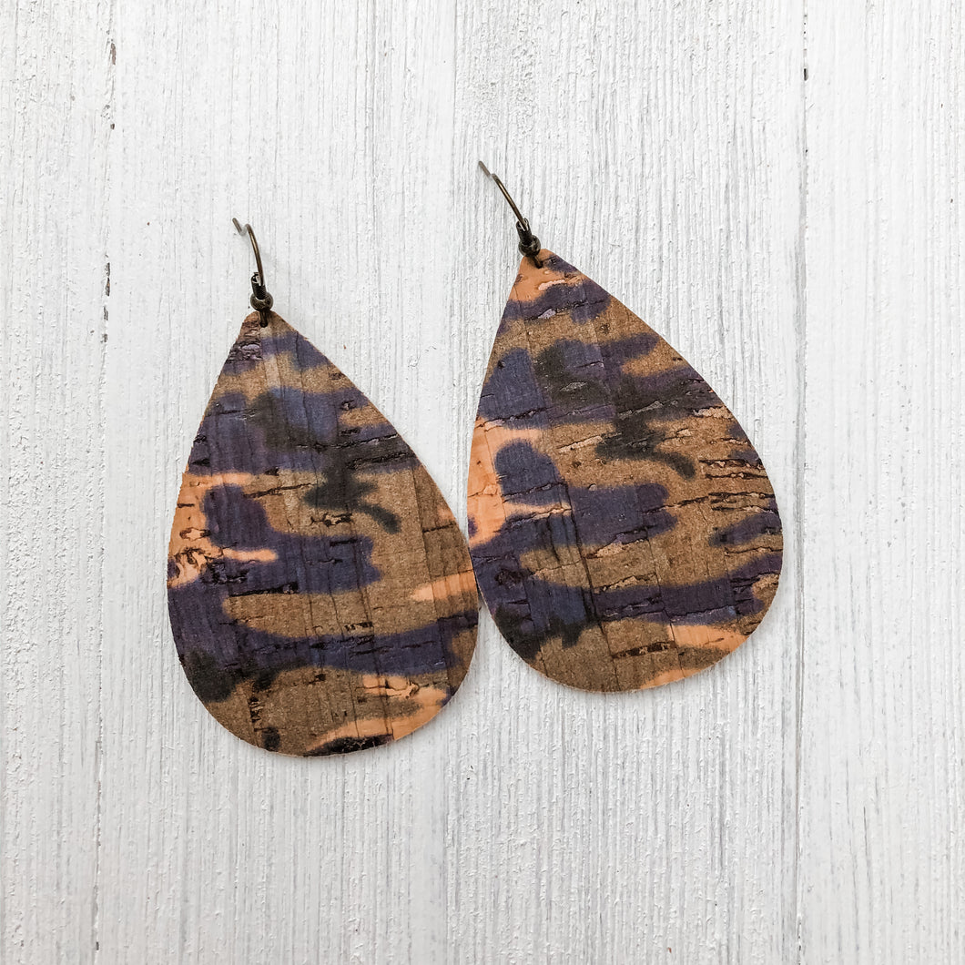 Purple Camo Cork Earrings