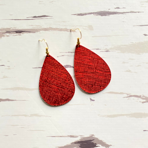 Red Satin Leather Earrings