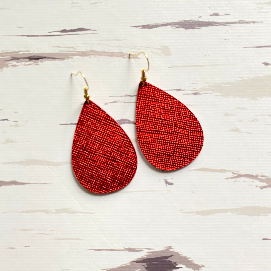 NEW! Red Satin Leather Earrings