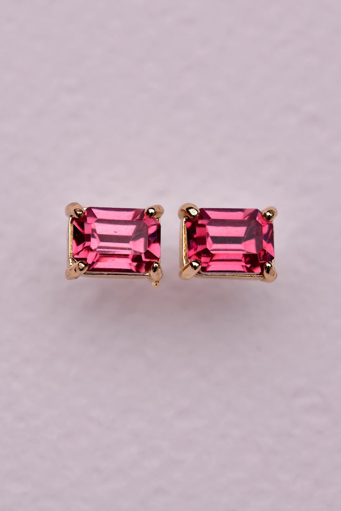 Mini Crystal Earring - Pink