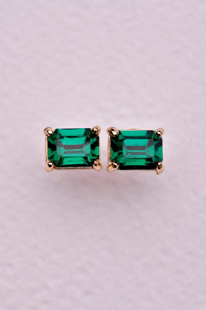 Mini Crystal Earring - Emerald