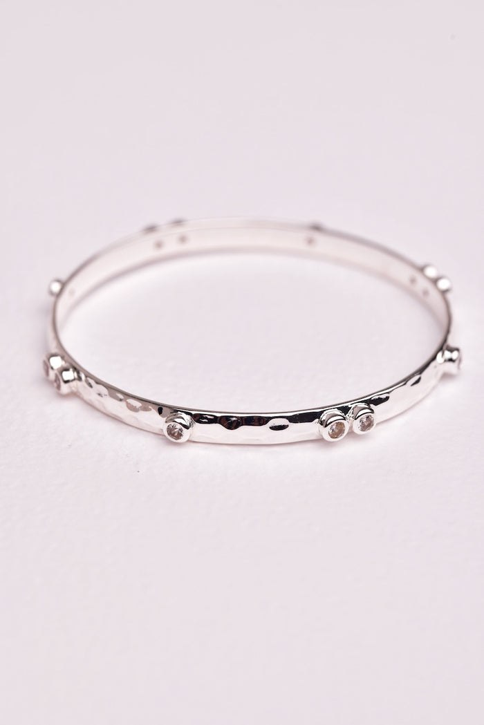 Double Crystal Bangle - Silver