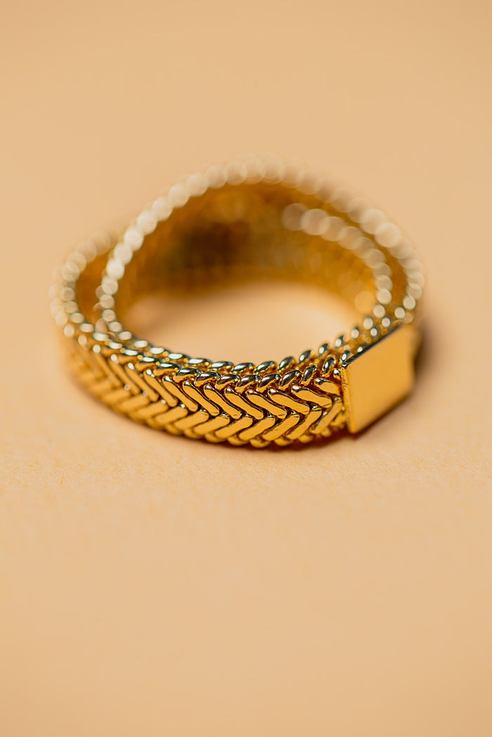 Zafino Double Snake Chain Ring - 14k Gold Plated - Size 8