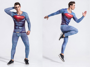 Superman Fitness Tights Suit Long-Sleeved Speed Dry Breathable Clothes